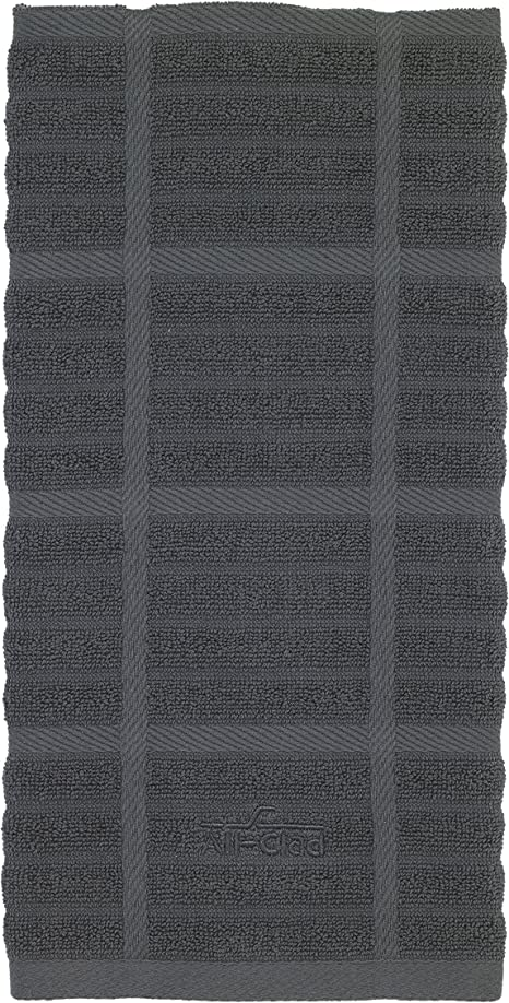 All Clad Textiles 100 Percent Combed Terry Loop Cotton Kitchen Towel Oversized Highly Absorbent 17 Inch By 30 Inch Solid Pewter Grey Home Kitchen