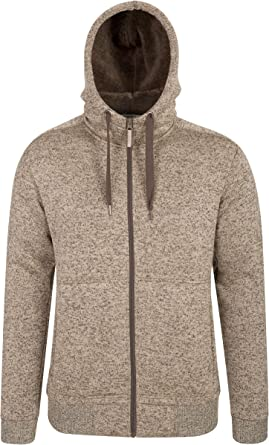 MOUTEN Men Warm Solid Color Hoodie Full-Zip Jacket Winter Fleece-Lined Sweatshirt Coat