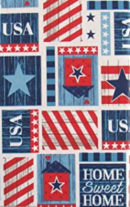 Home Sweet Home USA Patriotic Patchwork Vinyl Flannel Back Tablecloth (52