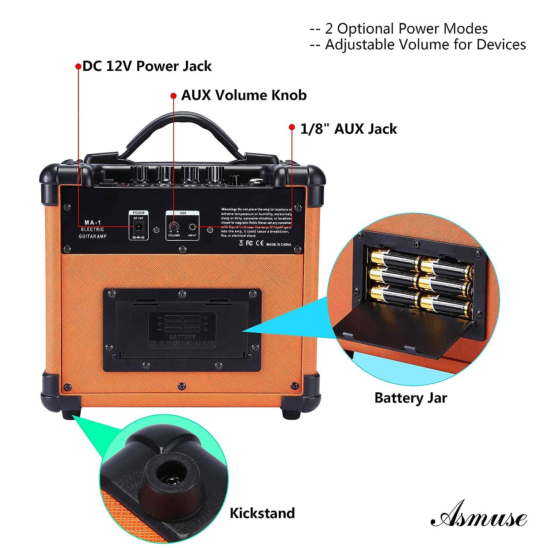 Amplificatore Cuffie Chitarra Elettrica Professionale Con Mini DI//Distortion effetti//Batteria Ricaricabile//Cavo USB e 3.5mm 1//4 Jacks Caline