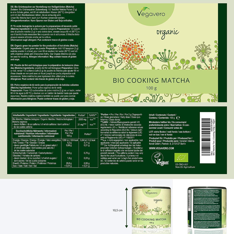 BIO Matcha para Cocinar Vegavero® 100g | Grado Culinario ...