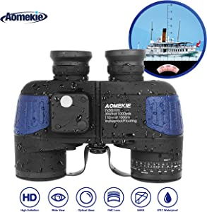AOMEKIE Marine Binoculars Low Light Night Vision for Adults Father's Day 7X50 Military Waterproof Fogproof with Compass Rangefinder BAK4 Prism Lens for Navigation Boating Fishing Water Sports Hunting