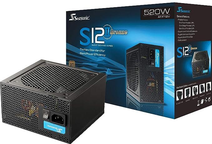 Seasonic S12II-520Bronze, 520 W, 100 - 240 V, 50/60 Hz, Overload, Negro, BSMI, CE, FCC, C-tick