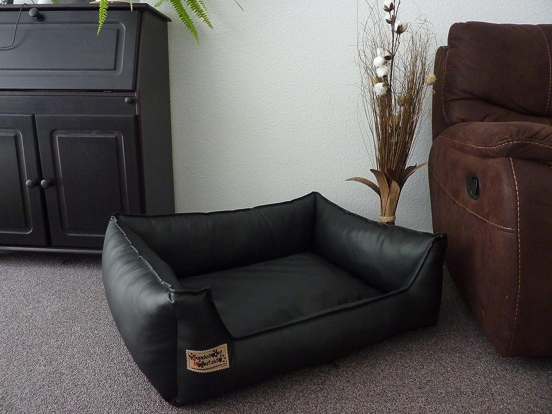 Similpelle Dog Bed / Sofa Artificial Leather 90 cm x 70 cm Black Hundebettenmanufaktur