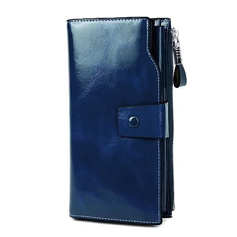 Carteras de Cuero Genuino Monedero Billetera para mujeres RFID Bloqueo Cera de Lujo Piel gran capacidad Bolso de la señora (1-Azul)