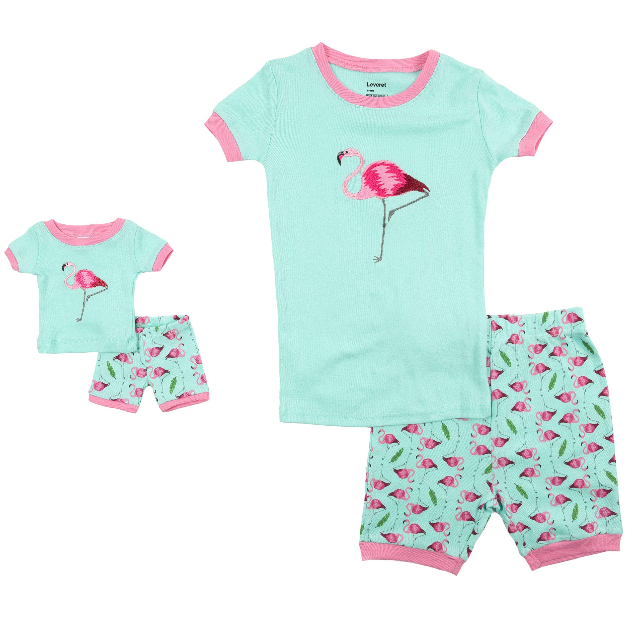 Leveret Shorts Matching Doll & Girl Flamingo 2 Piece Pajama Set 100% Cotton Size 6 Years