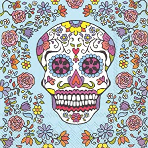 Celebrate the Home Vibrant 3-Ply Paper Cocktail Napkins, Sugar Skull, 20 Count