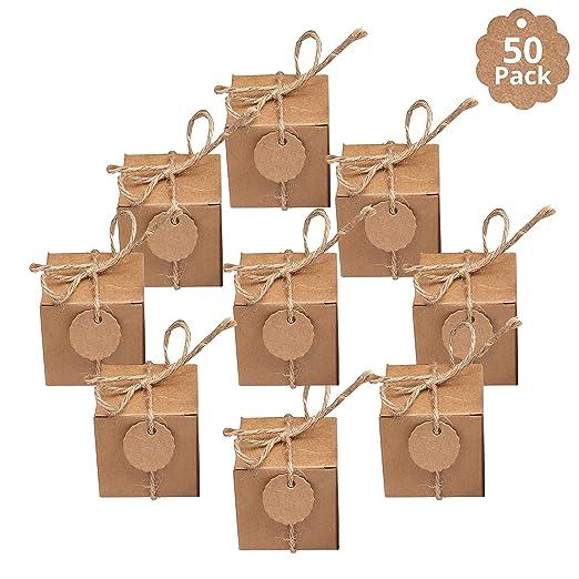 Kraft Cajas de Regalo (50 Piezas)- Kraft Marrón Cajas (5x 5x 5cm ...