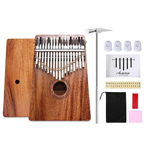 AsmuseTM Caoba Kalimba Thumb Piano 17 Teclas Mbira Madera Maciza Finger piano Sanza Thumb Instrumento con Bolsa de Transporte Música Songbook 15 canciones ...