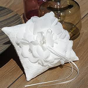 Einssein 1x Almohada de Anillos Boda Flor 15x15 pequeño Crema ...