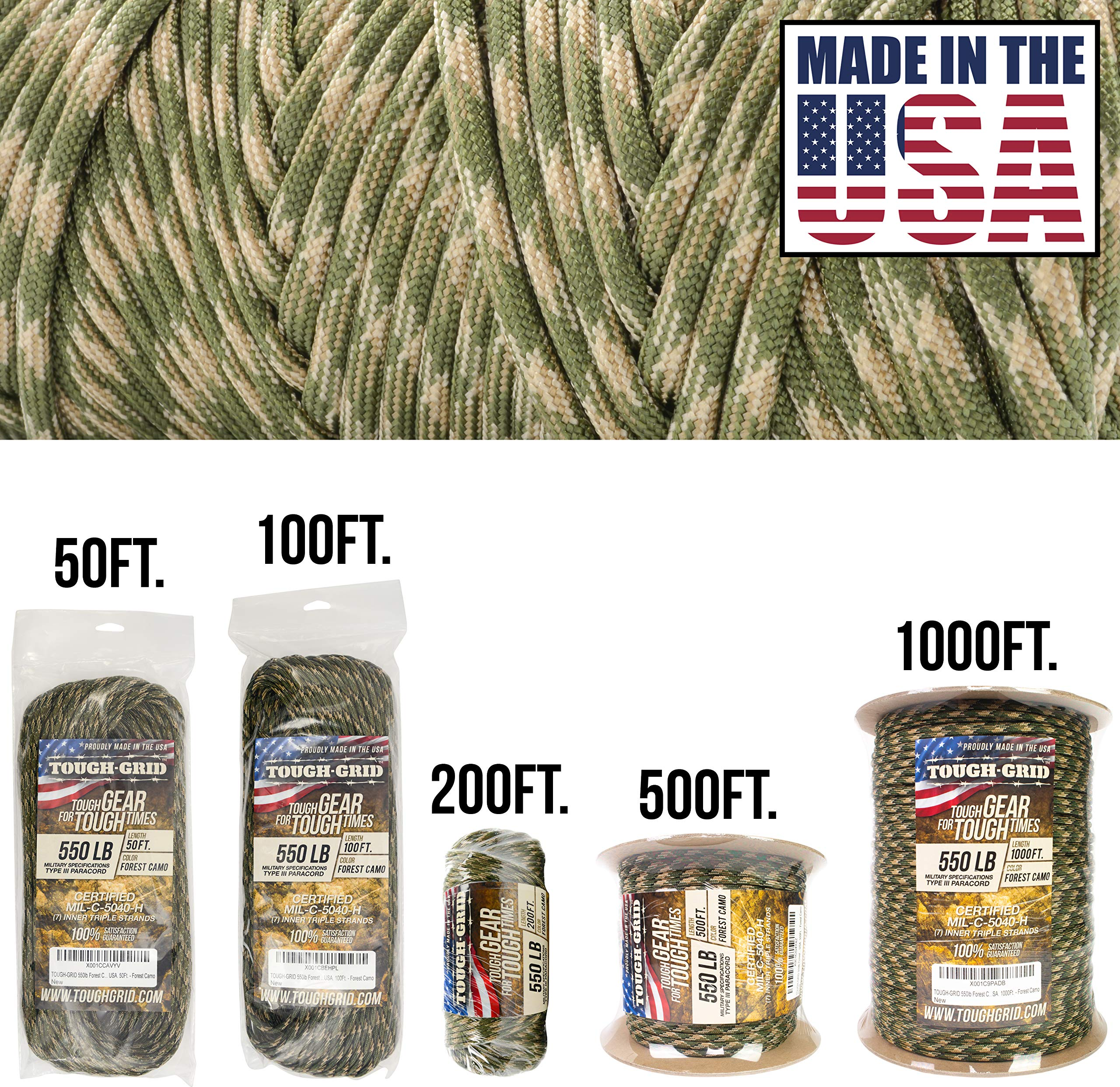 TOUGH-GRID 550lb Forest Camo Paracord/Parachute Cord - 100% Nylon Genuine Mil-Spec Type III Paracord Used by The US Military - (MIL-C-5040-H) - Made in The USA. 200Ft. - Forest Camo