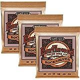 Ernie Ball Earthwood Phosphor Bronze Rock & Blues (10-52 w/plain G) 3-Pack Acoustic Guitar Strings (P03451)