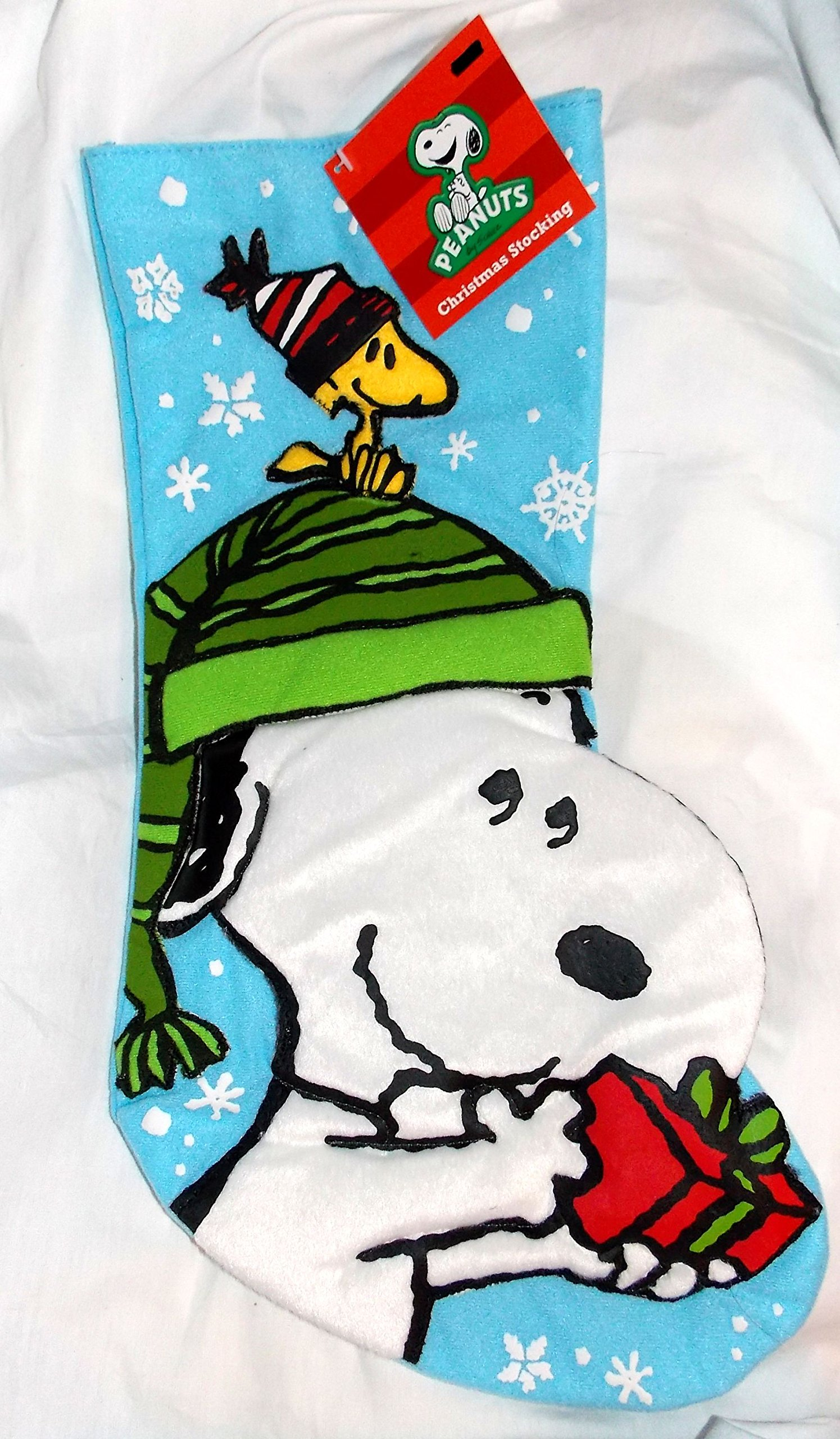 Peanuts Snoopy Holding Present with Woodstock on Head 17'' Christmas Stocking