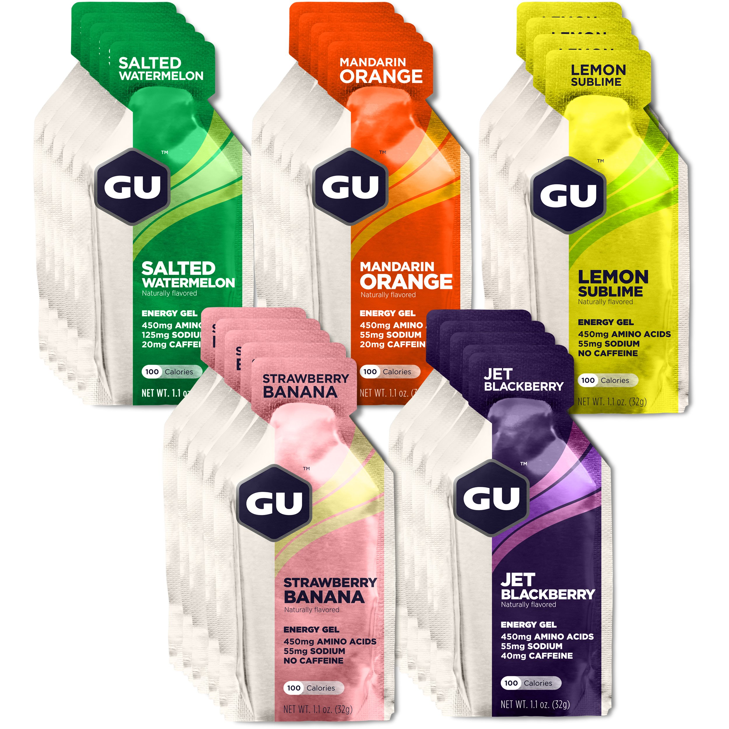 GU Energy Original Sports Nutrition Energy Gel, Assorted Fruity Flavors, 24-Count Box