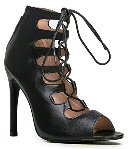 Amazon.com | Lace up High Heel - Strappy Party Pump - Strap Formal ...