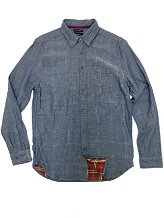a3ed732f Gild Classic Fit Man Shirt 100% Cotton Casual Long Sleeve, Blue Chambray S