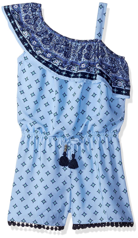 My Michelle Girls' Big One Shoulder Ruffle Romper with Tassel Tie 4897AB1G