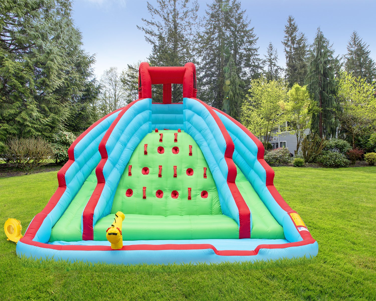 Deluxe Inflatable Water Slide Park – Heavy-Duty Nylon Bouncy Station for Outdoor Fun - Climbing Wall, Two Slides & Splash Pool – Easy to Set Up & Inflate with Included Air Pump & Carrying Case by Sunny & Fun (Image #8)