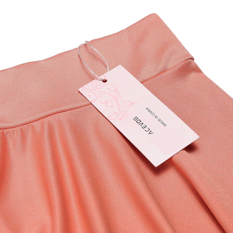 ACEVOG Womens Casual Basic Versatile Stretchy Waist Flared Mini Skater Skirt