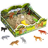 CoolSand 3D Sandbox - Safari Edition - Set Includes: 1 Pound Moldable Indoor Play Sand, Shaping Molds, Safari Figures and 3D Tray - Featuring Sensory Kinetic Action
