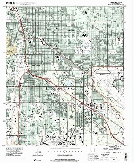 Topo Map Of Arizona.Amazon Com Yellowmaps Tucson Az Topo Map 1 24000 Scale 7 5 X 7 5