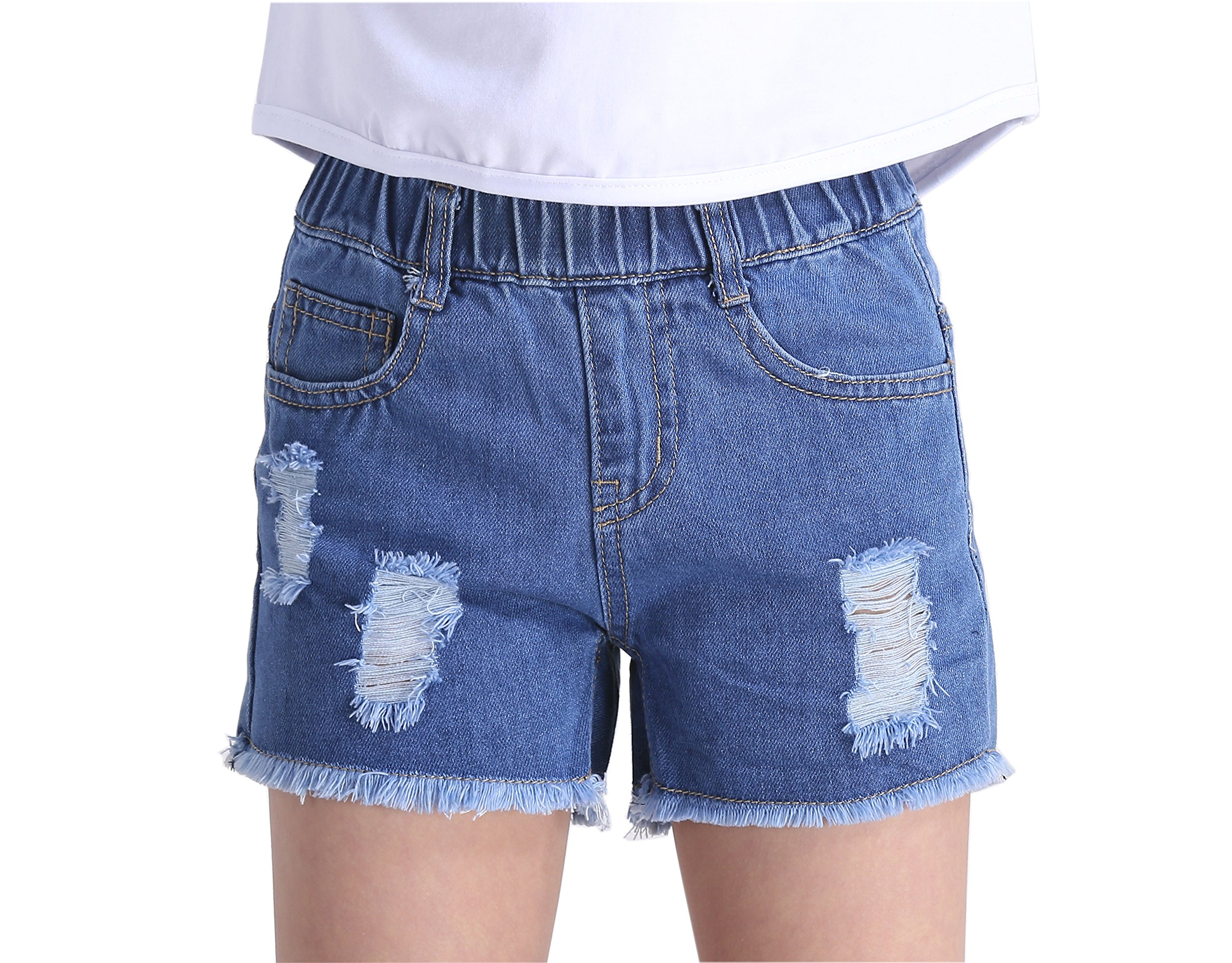 Sitmptol Big Girls Little Kids Distressed Denim Shorts Cowboy Light Blue Shorts 160