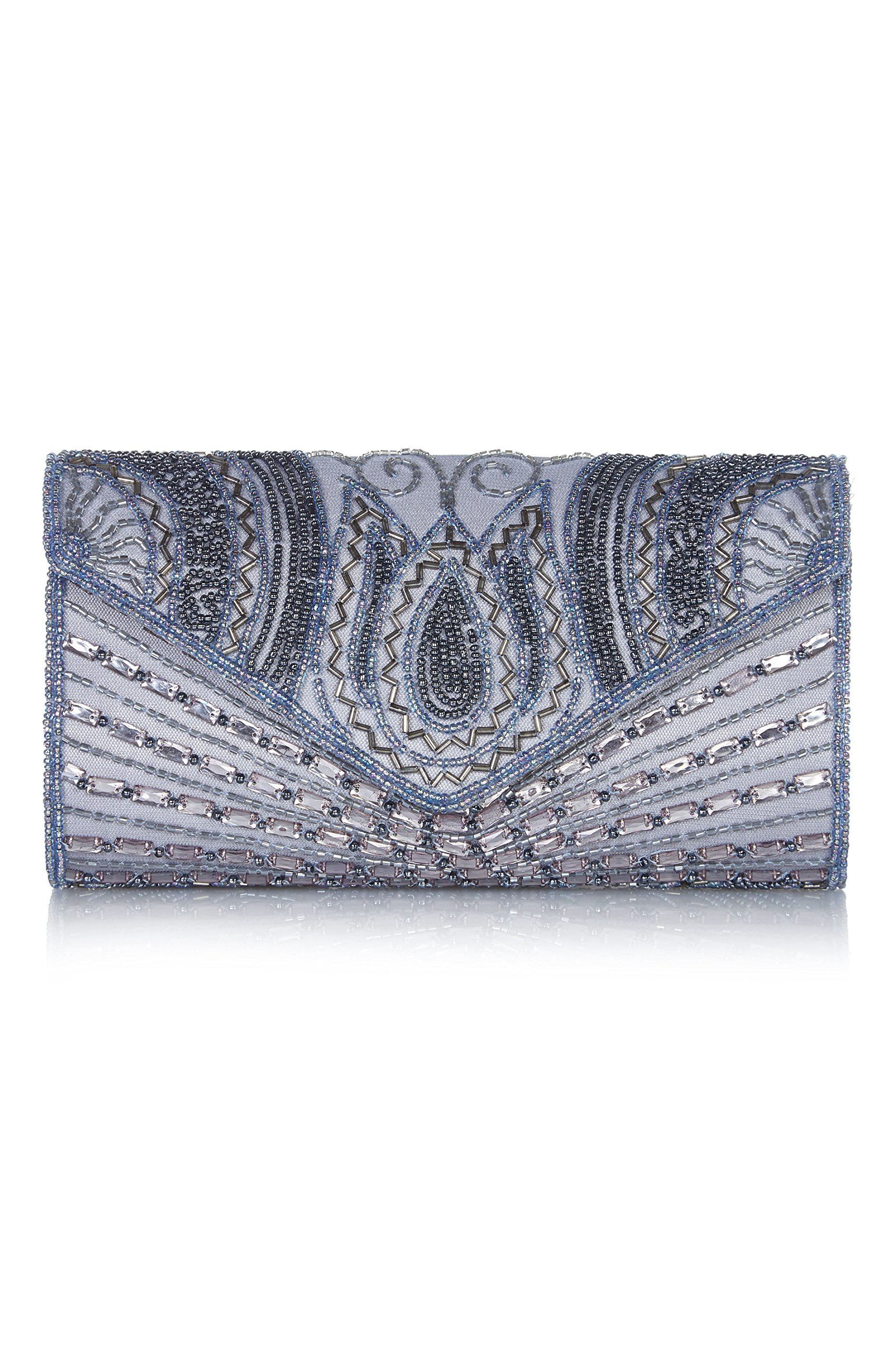 Beatrice Vintage Inspired Hand Embellished Clutch Bag in Lilac