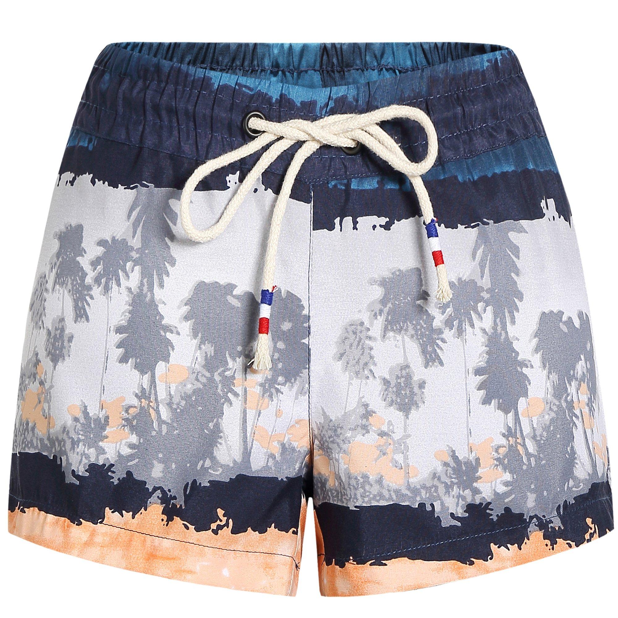 SSLR Women's Beach Shorts Swimming Casual Hawaiian Aloha Board Shorts (30, Blue Grey)
