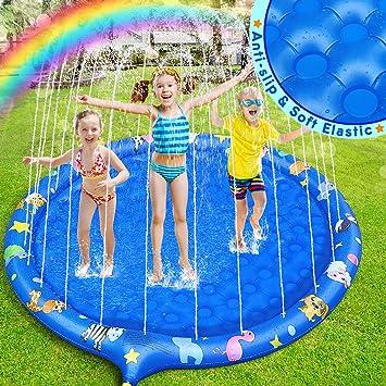 Dookey Splash Pad, Aspersor de Juego, Juguetes Almohadilla Inflables de Agua para niños, Verano Juguete Acuático al Aire Libre para Niños Familiares Jardín/Fiesta /Playa (Azul) : Amazon.es: Juguetes y juegos