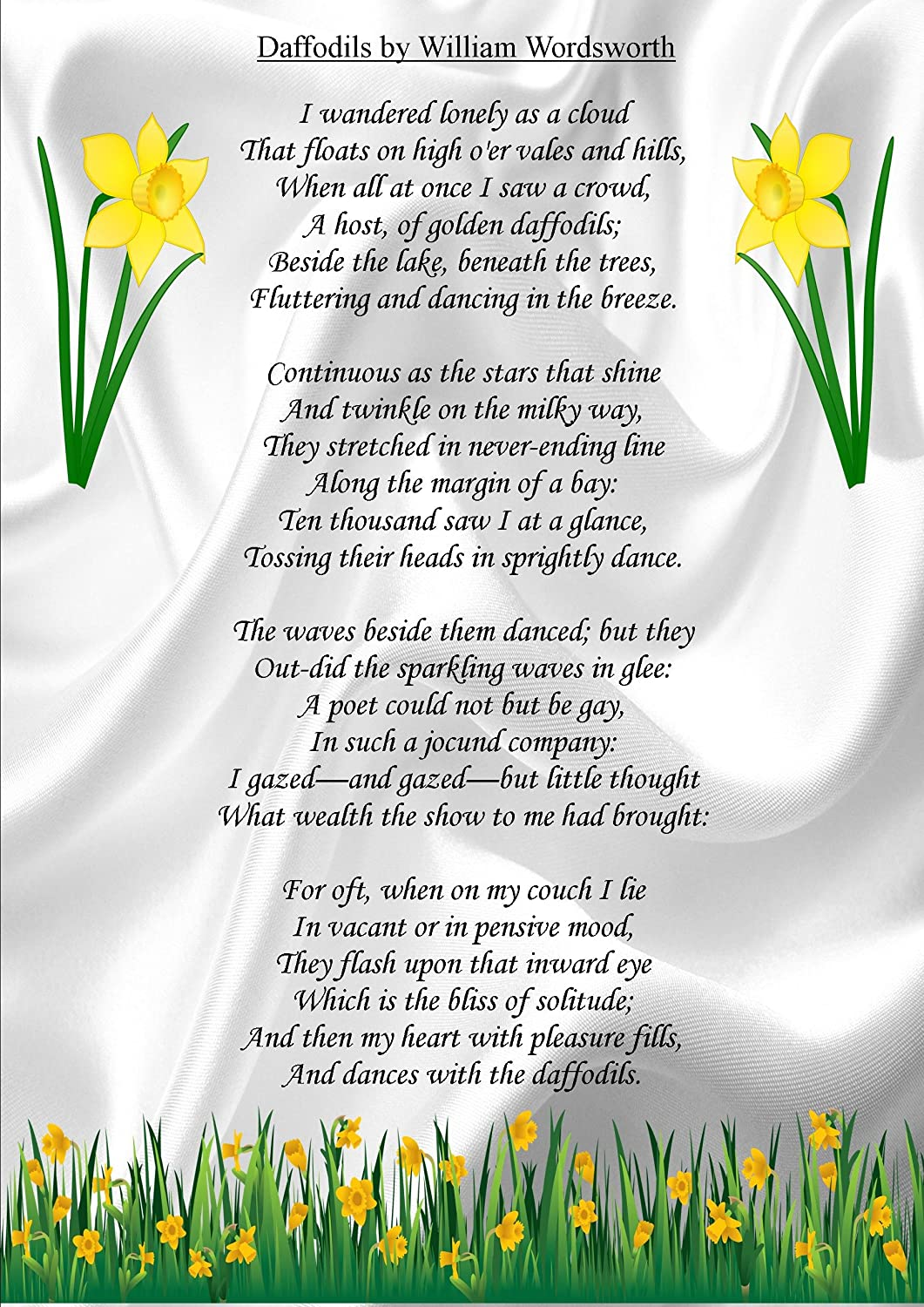 MOTIVATIONAL INSPIRATIONAL POEM SIGN POSTER PRINT DAFFODILS WILLIAM ...
