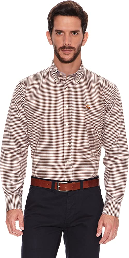 Spagnolo Camisa Oxford Marrón XS: Amazon.es: Ropa y accesorios