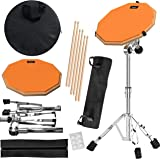 Practice Pad & Snare Stand Bundle - Drum Pad Double Sided with Drumsticks and Drum Stand for Four Inch Snare Drum With…