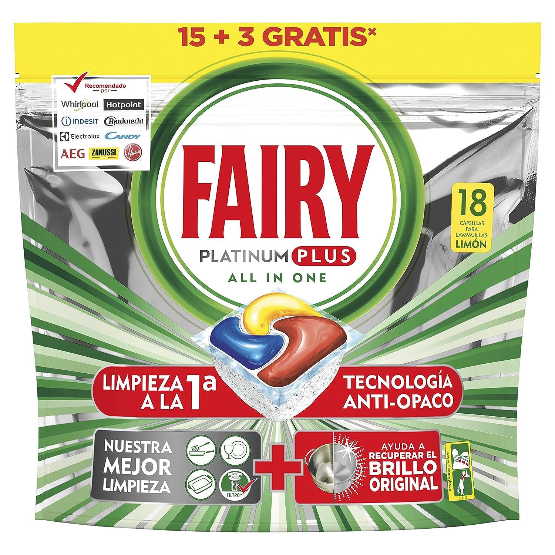 Fairy Platinum Plus Cápsulas para Lavavajillas, Elimina Restos Difíciles, Limón - 15 + 3 Cápsulas