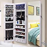 """AOOU 6 LED Mirror Jewelry Cabinet Full Screen Display jewelry Armoire Organizer,47.3""""H Lockable Wall/Door Mounted Makeup…"""