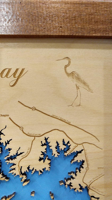 Amazon.com: Lake Murray, South Carolina: Framed Wood Map Wall ...