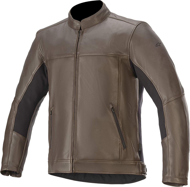 Brown Small Alpinestars Mens Topanga Leather Motorcycle Jacket