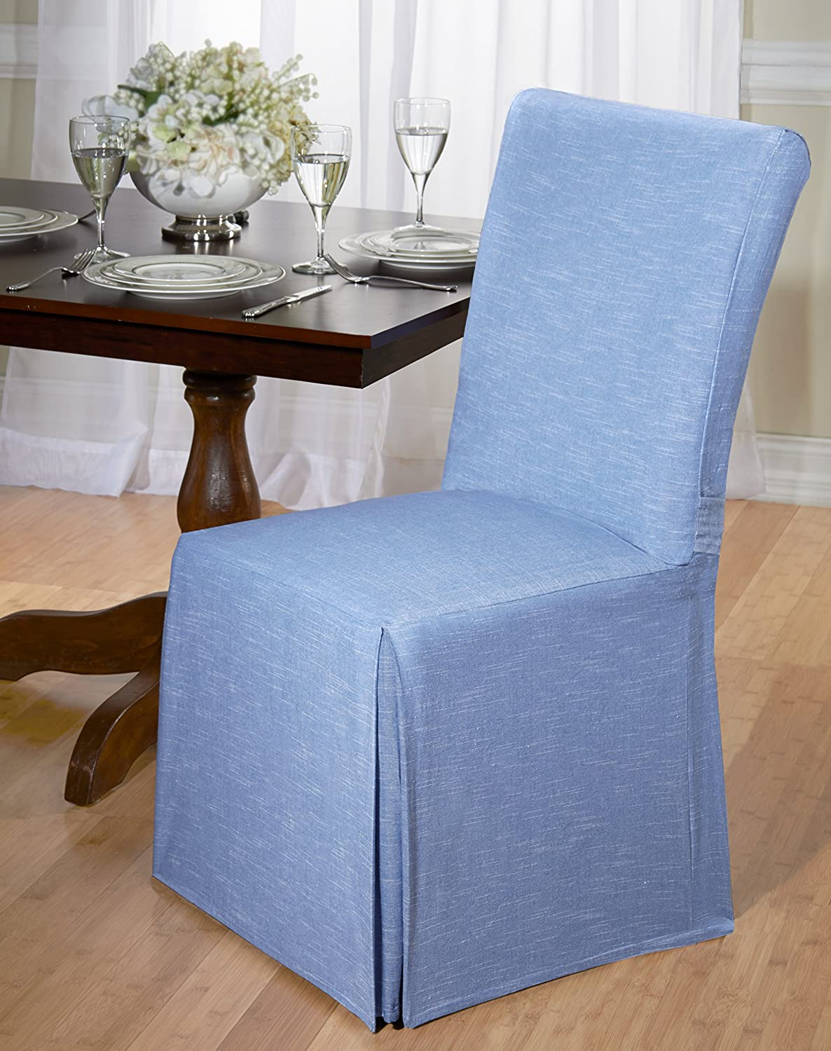 Amazon Com Luxurious Dining Chair Slipcover Chambray Basket