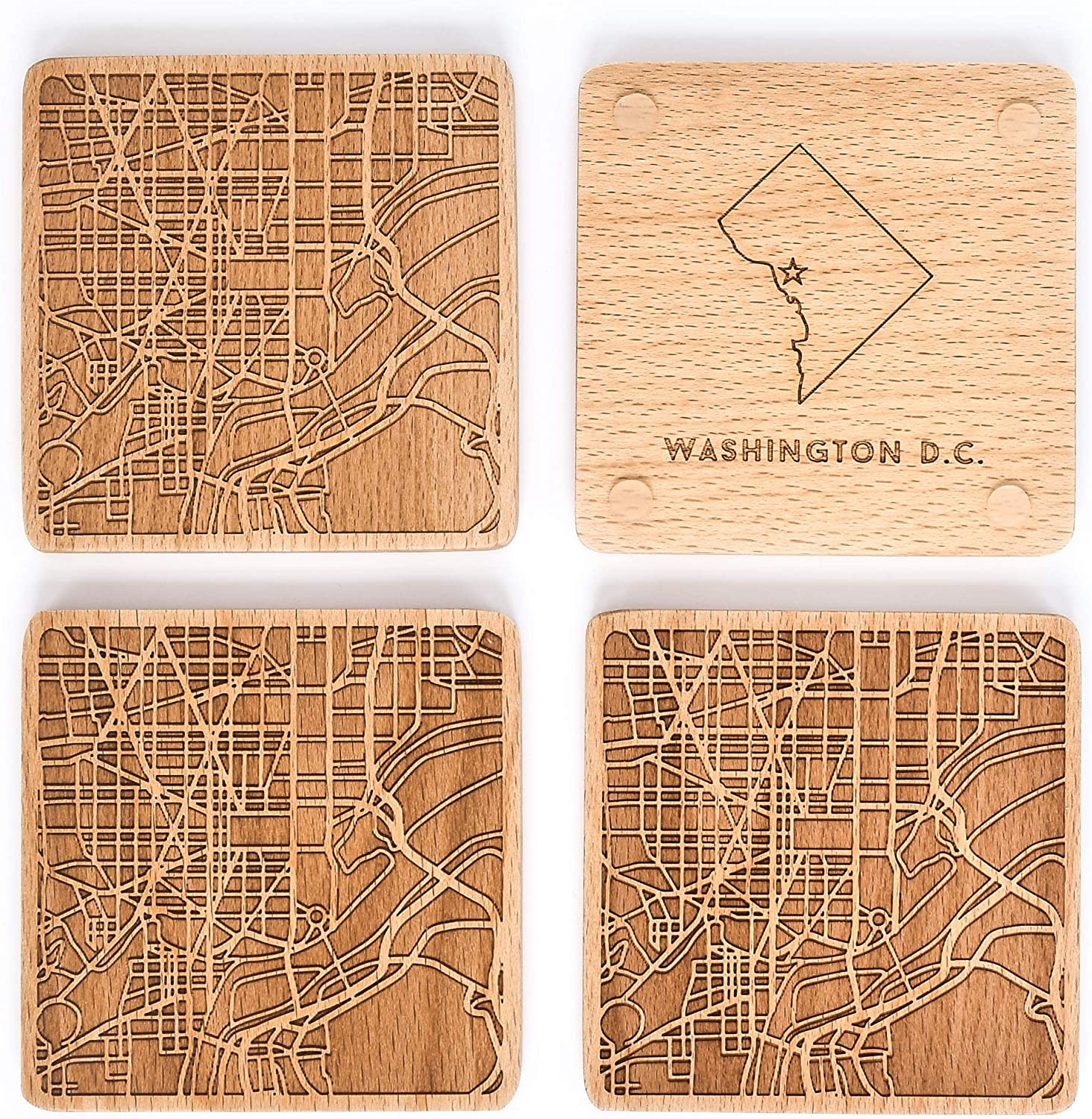 Greenline Goods Beech Wood Coasters Etched Wooden Coaster Set for Washington Lovers | Set of 4 | Etched with Washington Map and State of DC | 2 Sided | Includes Protective Silicone Furniture Pads