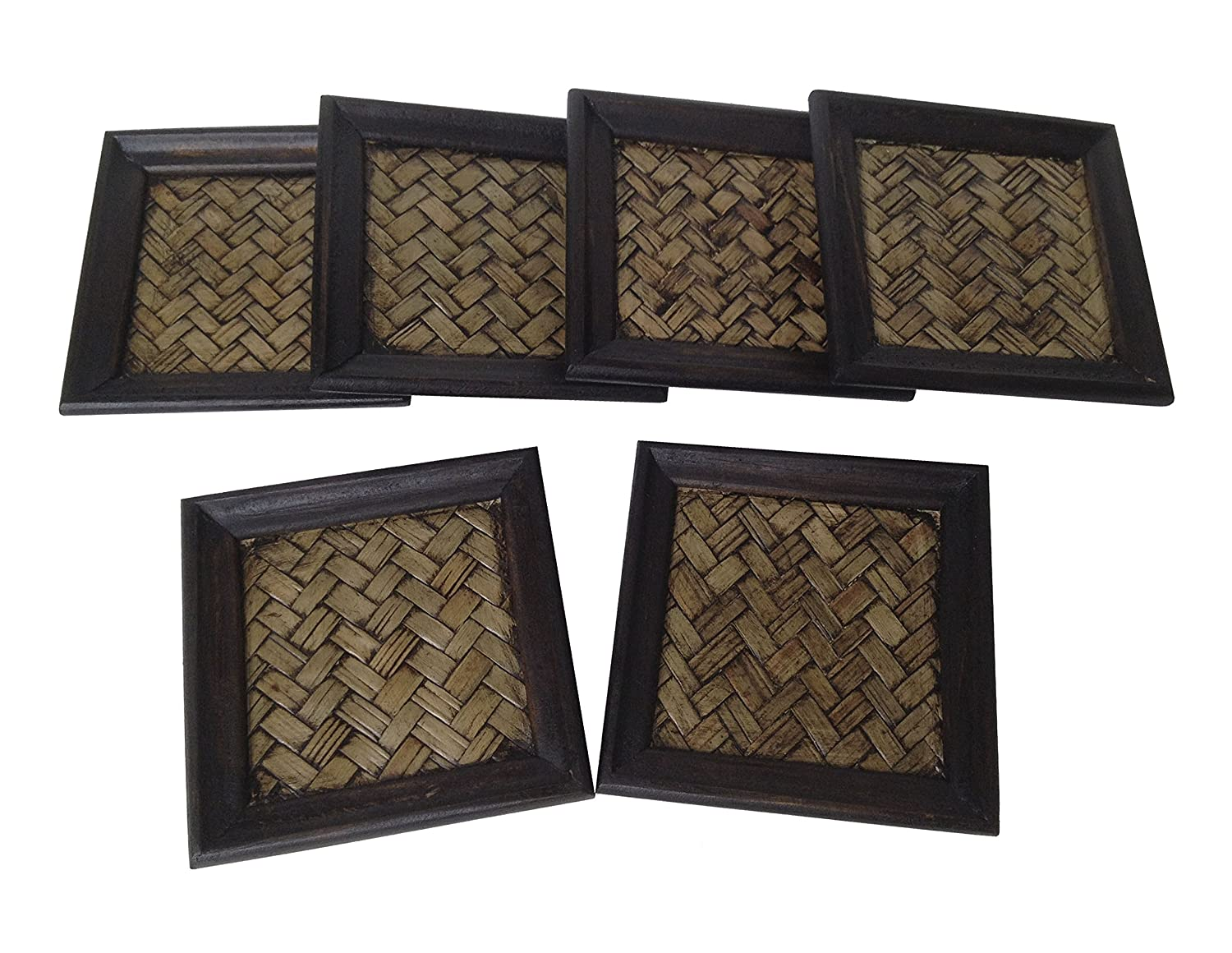 Wood For Décor Wooden Square Style Décor Elephant Saucer Mango With Bamboo Woven Small Dark Brown Oak Set of 6 pieces Wood For Décor