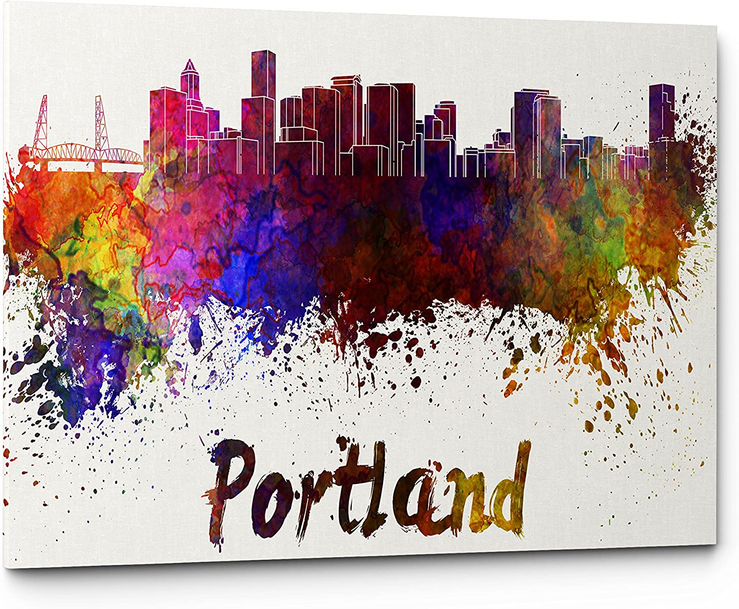 Qutenest Watercolor Portland City Skyline Canvas Wall Art Prints, Modern Abstract Cityscape Wall Art Print, Gallery Wrapped Giclee Canvas Art, Home Decor, Office Decor - Ready to Hang (Portland)