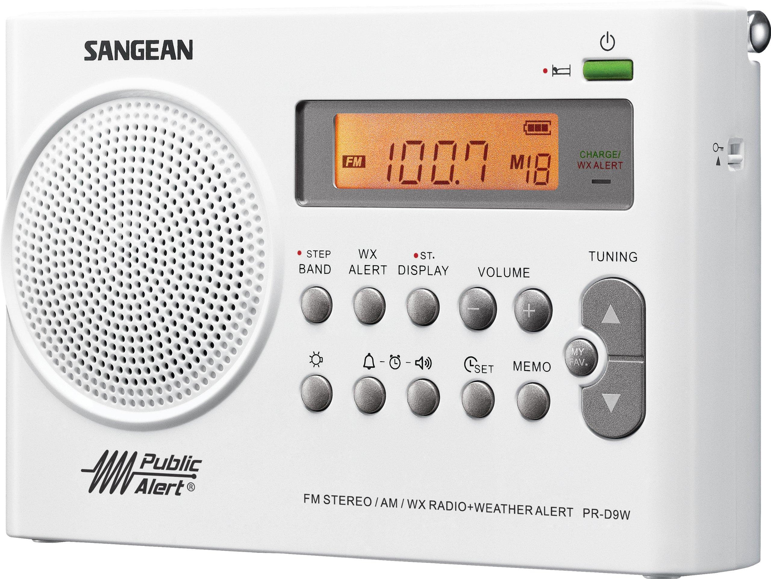 Sangean PR-D9W AM/FM Weather Alert Rechargeable Portable Radio