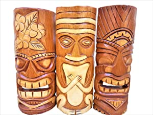 "All Seas Imports Set of (3) Wooden Handcarved Natural Style 12"" Tall Tiki Masks Tropical Wall Decor!"
