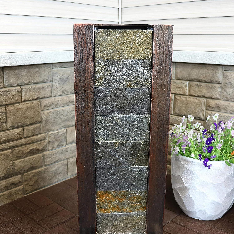 Slate & Metal Material 39-Inch Tall Garden & Patio Waterfall ...