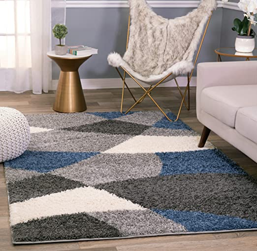 Amazon Com Rugshop Cozy Shag Modern Geometric Shapes Area Rug 5