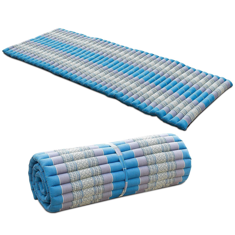 Liegematte Rollmatte Yogamatte Rollmatratze Thaimatte ca. 200x100 cm Matte Liege Kapokmatte Baumwolle Kapok Türkis Grau KRG3
