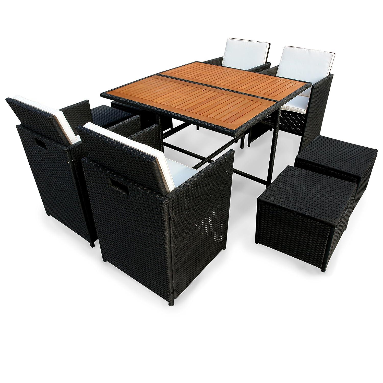 Indoba 9-teilig Faro-Polyrattan-Serie Faro-IND-70083-FASE9 Gartenmöbel Set schwarz 110 x 110 x 75 cm