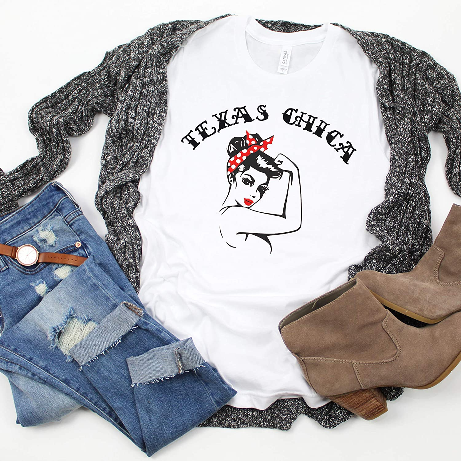 Amazon.com: Texas Chica Shirt Strong Girl Rosie the Riveter ...