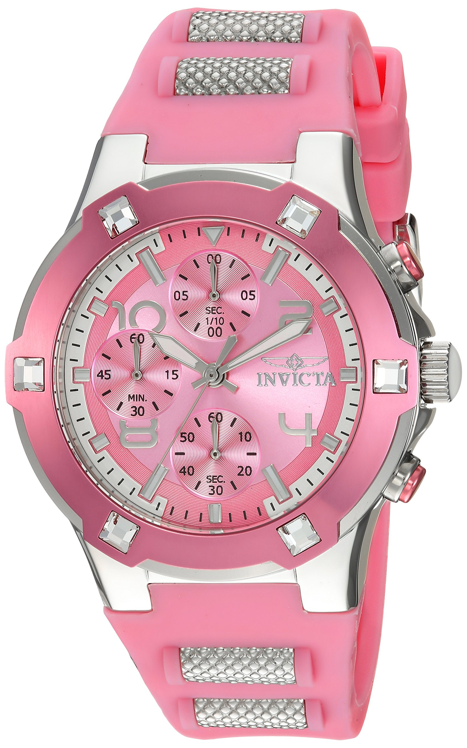 Invicta Women's 'BLU' Quartz Stainless Steel and Silicone Casual Watch, Color:Pink (Model: 24197)