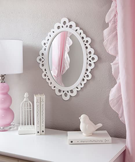 Butterfly Craze Decorative Oval Wall Mirror, White Wooden Frame for  Bathrooms, Bedrooms, Dressers, and Antique Princess Décor, Medium