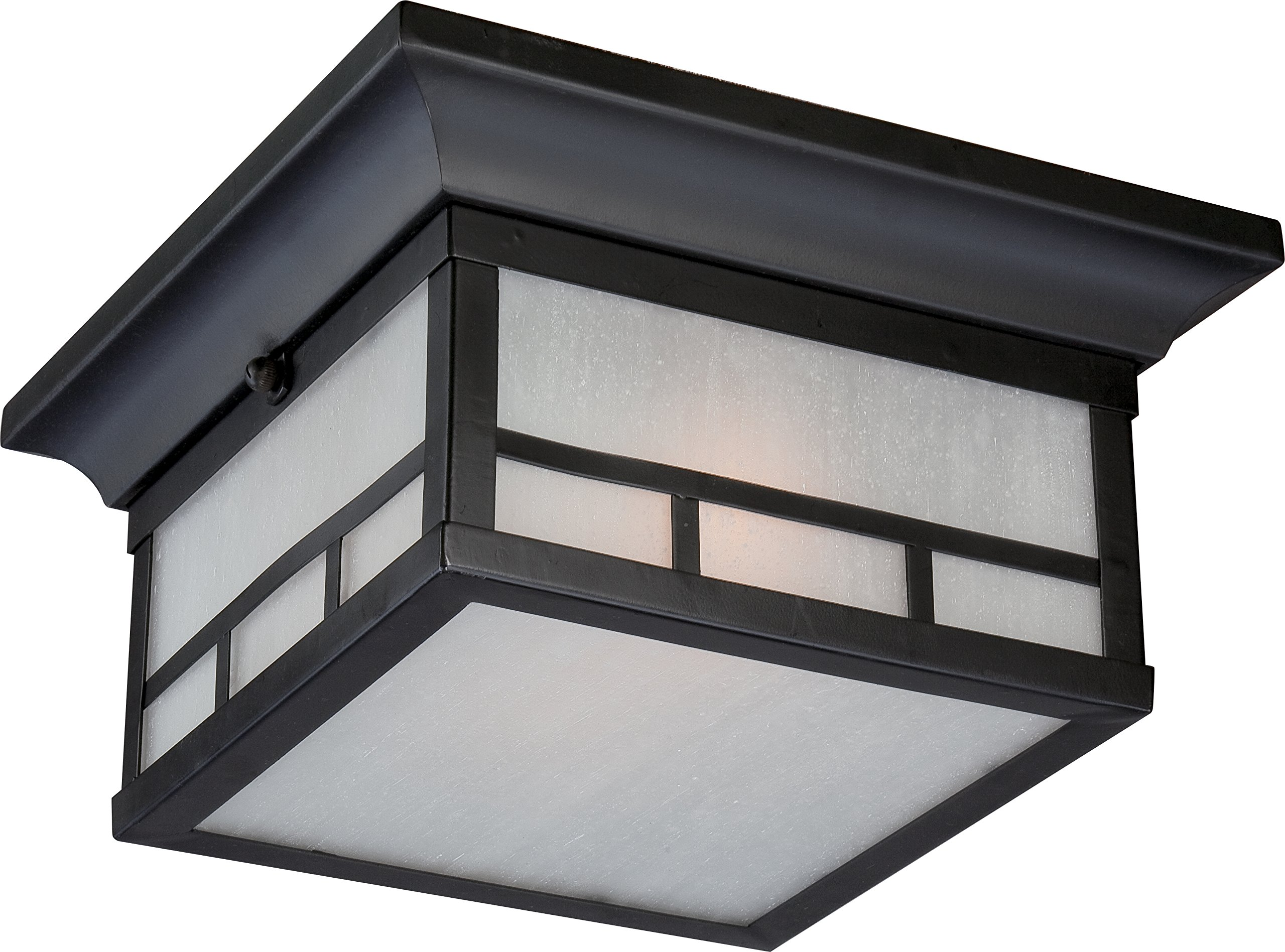 Nuvo Lighting 60/5606 Drexel Flush 2 Light 60-watt A19 Outdoor Close to Ceiling Porch and Patio Lighting with Frosted Seed Glass, Stone Black